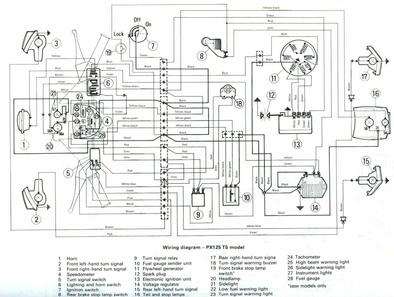 Schema Elettrico Vespa Px 125 : Schema elettrico vespa px t il sito del vespaio